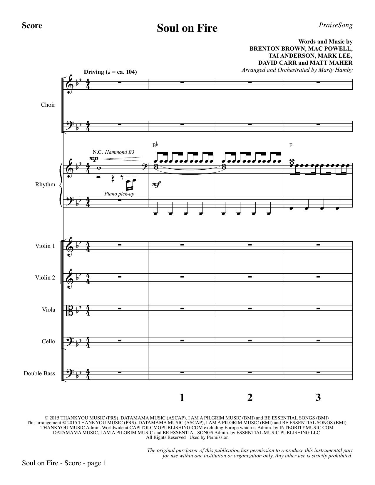 Soul on Fire - Full Score (Choir Instrumental Pak)