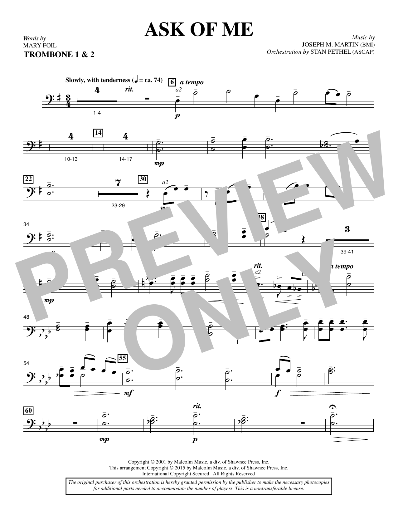 Ask of Me - Trombone 1 & 2 Sheet Music