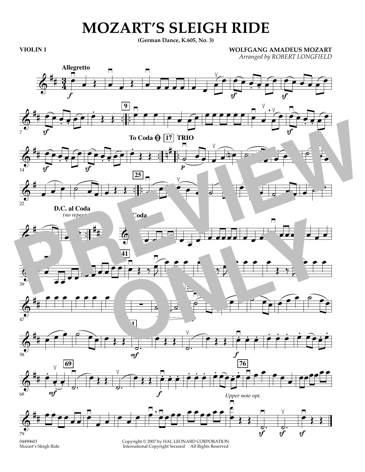 page one of Mozart's Sleigh Ride (German Dance, K.605, No.3) - Violin 1ASALTTEXT