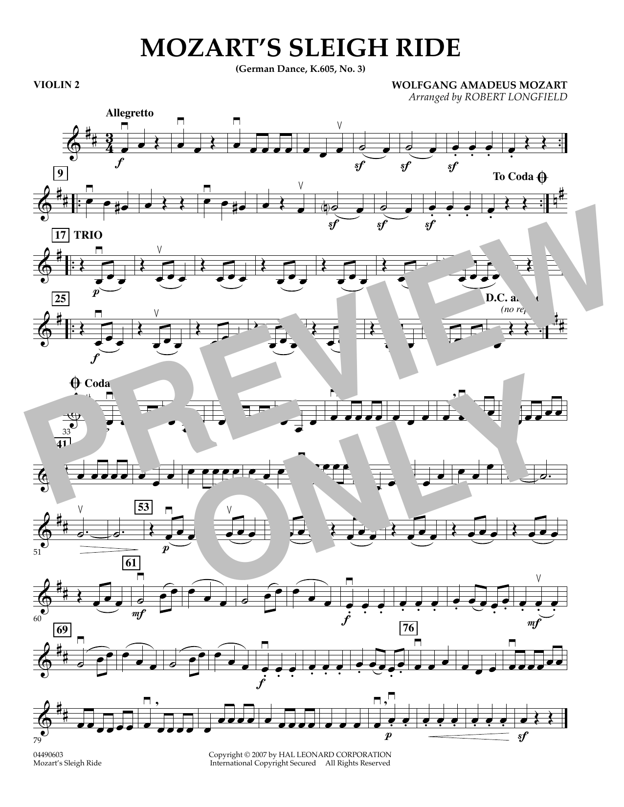 Mozart's Sleigh Ride (German Dance, K.605, No.3) - Violin 2 (Orchestra)