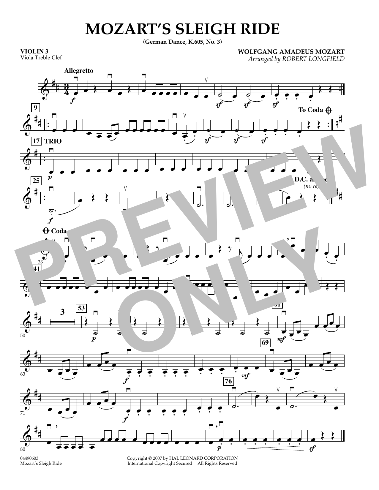 Mozart's Sleigh Ride (German Dance, K.605, No.3) - Violin 3 (Viola Treble Clef) (Orchestra)