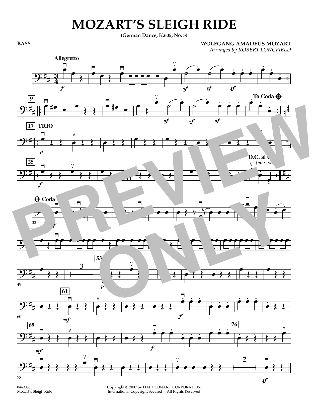 page one of Mozart's Sleigh Ride (German Dance, K.605, No.3) - BassASALTTEXT