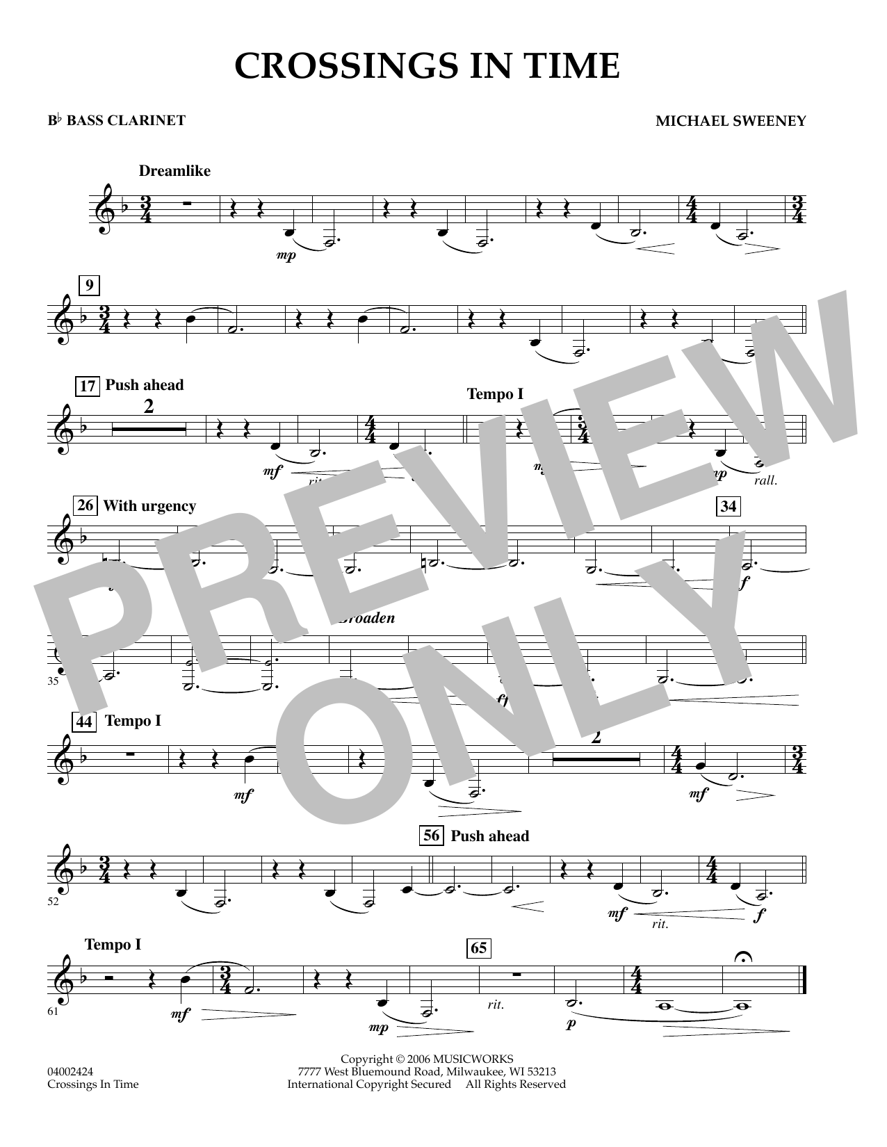 Crossings In Time - Bb Bass Clarinet (Concert Band)