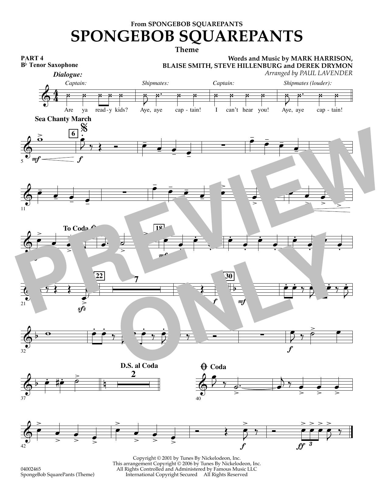 Spongebob Squarepants  (Flex-Band) - Pt.4 - Bb Tenor Saxophone (Concert Band)