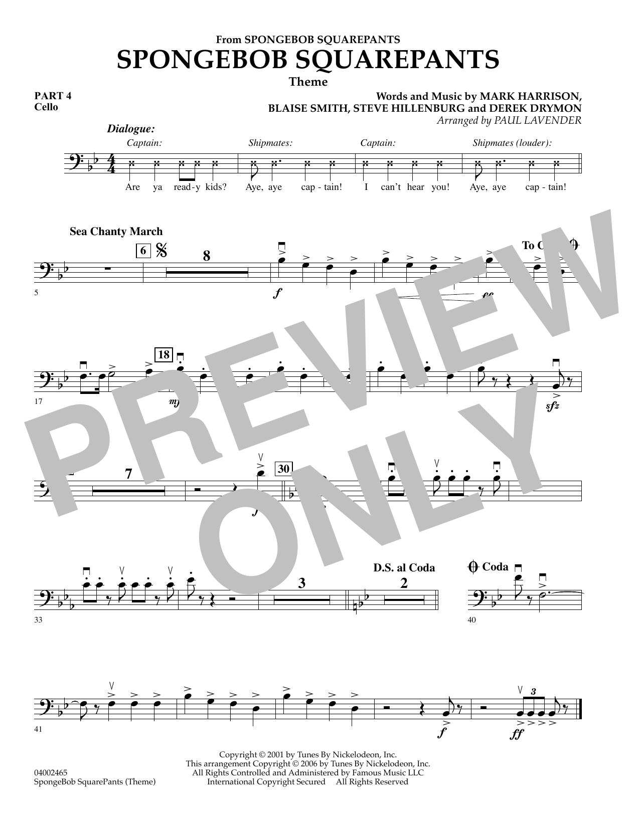 Spongebob Squarepants  (Flex-Band) - Pt.4 - Cello (Concert Band)
