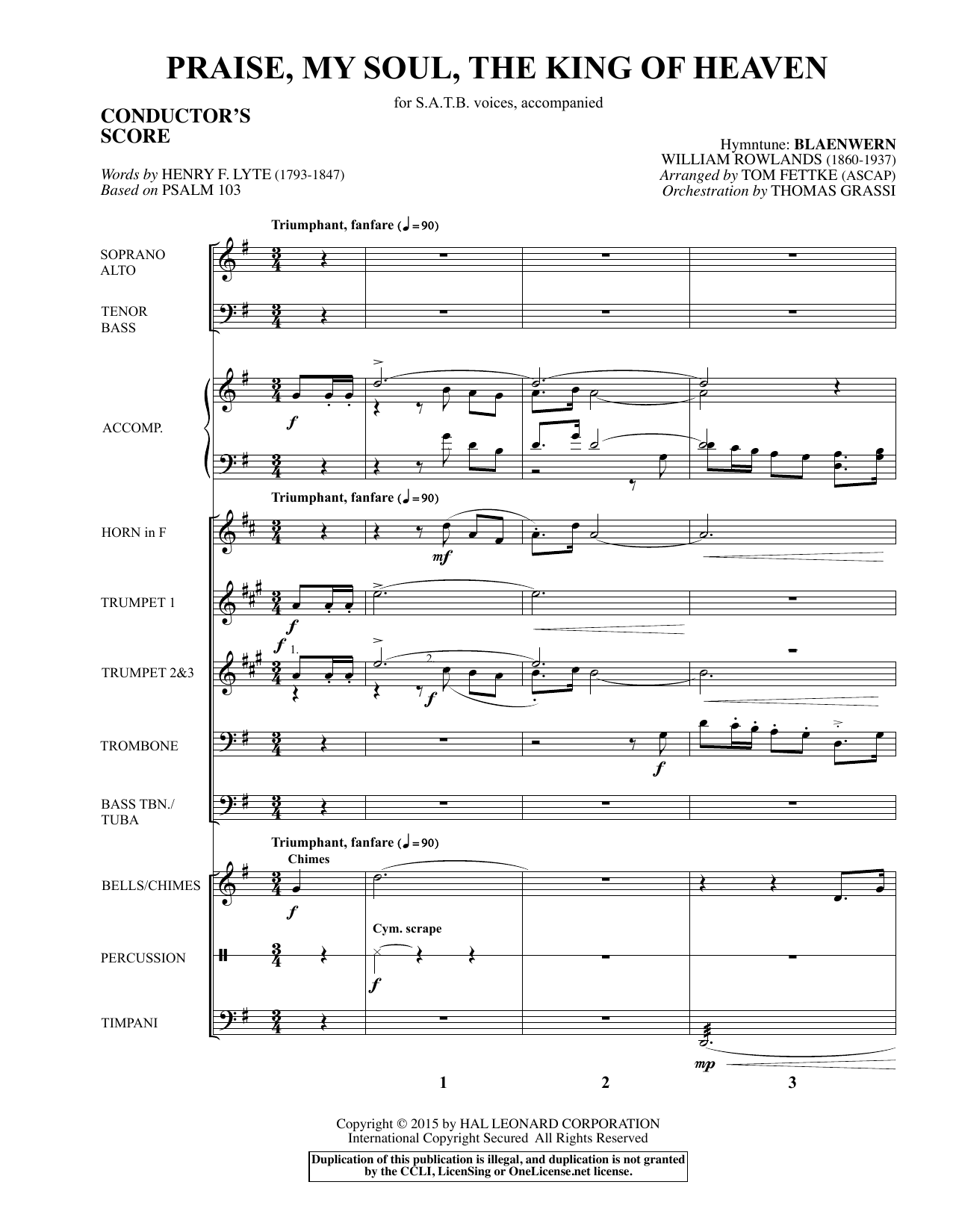 Praise, My Soul, The King of Heaven (COMPLETE) sheet music for orchestra/band by Tom Fettke and Henry F. Lyte. Score Image Preview.