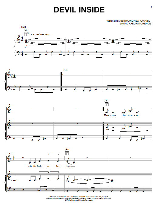Devil Inside (Piano, Vocal & Guitar (Right-Hand Melody))