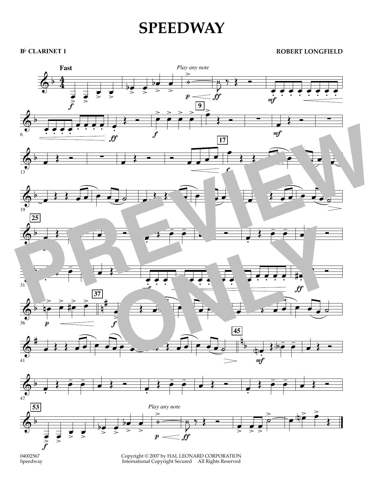 Speedway - Bb Clarinet 1 (Concert Band)