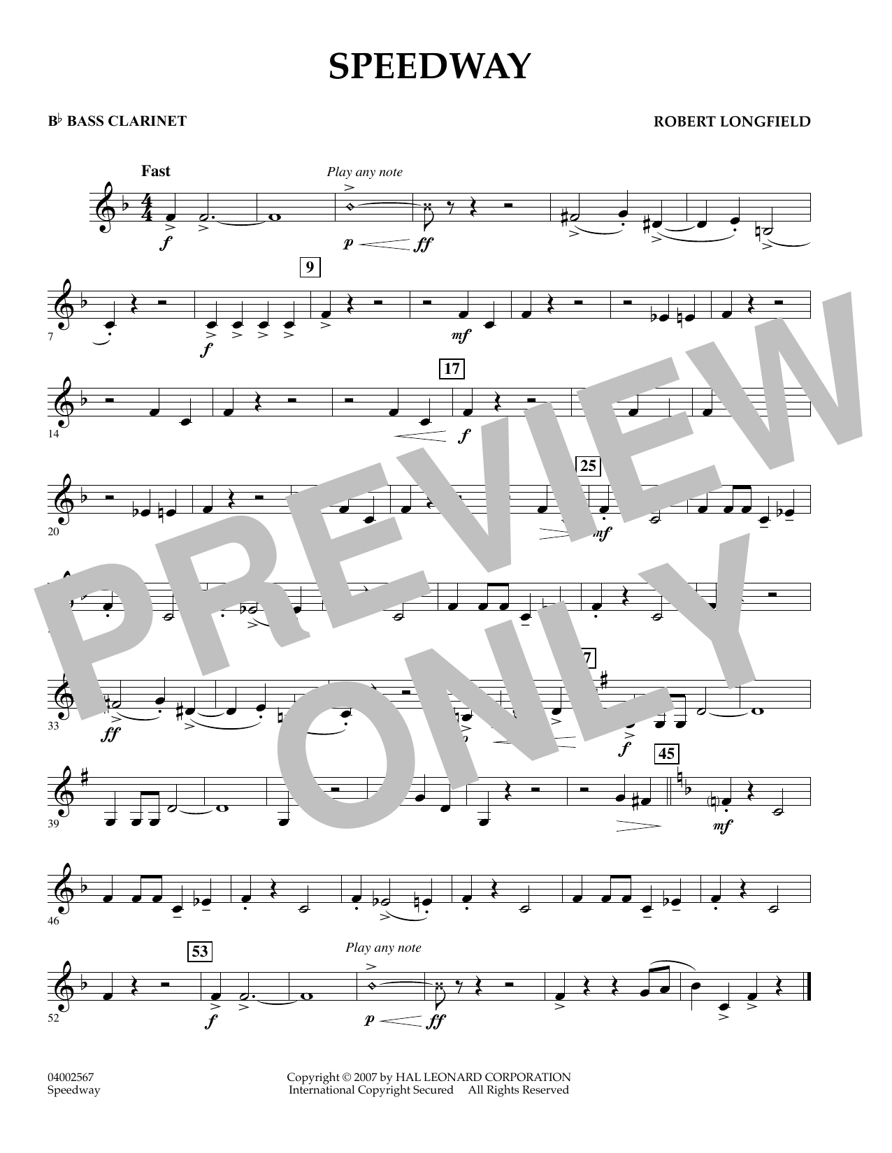 Speedway - Bb Bass Clarinet (Concert Band)