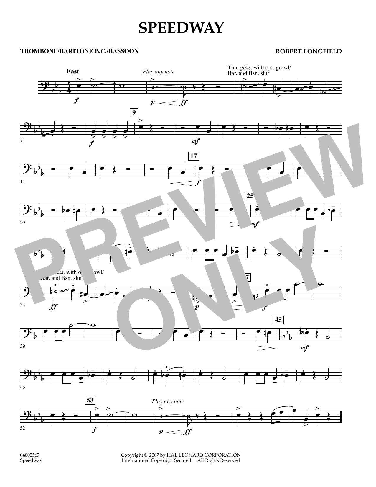page one of Speedway - TromboneASALTTEXT