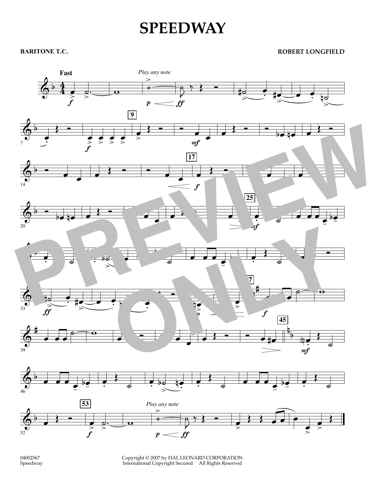 Speedway - Baritone T.C. (Concert Band)