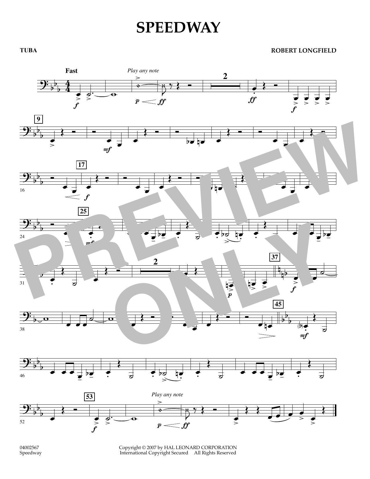 page one of Speedway - TubaASALTTEXT