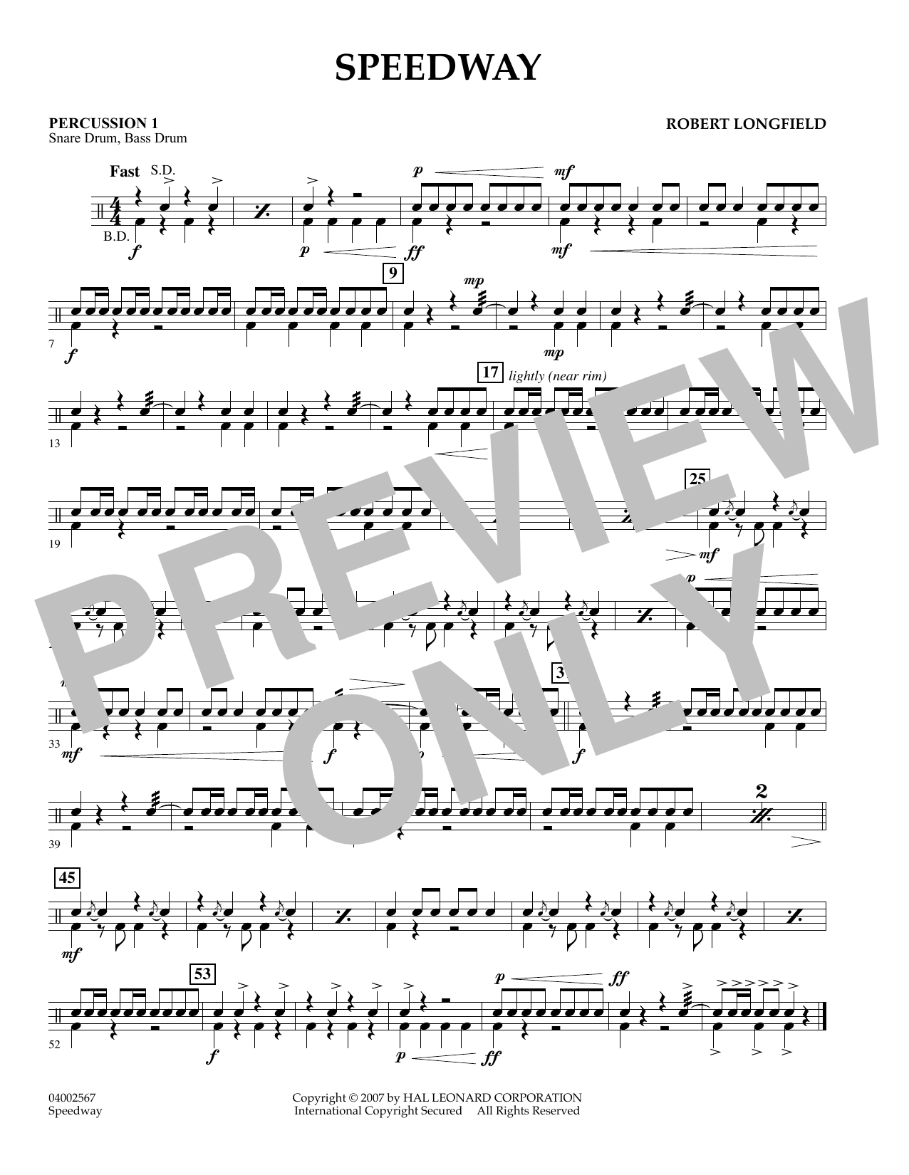 page one of Speedway - Percussion 1ASALTTEXT