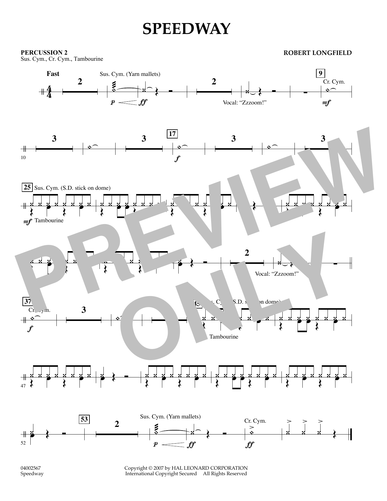 page one of Speedway - Percussion 2ASALTTEXT