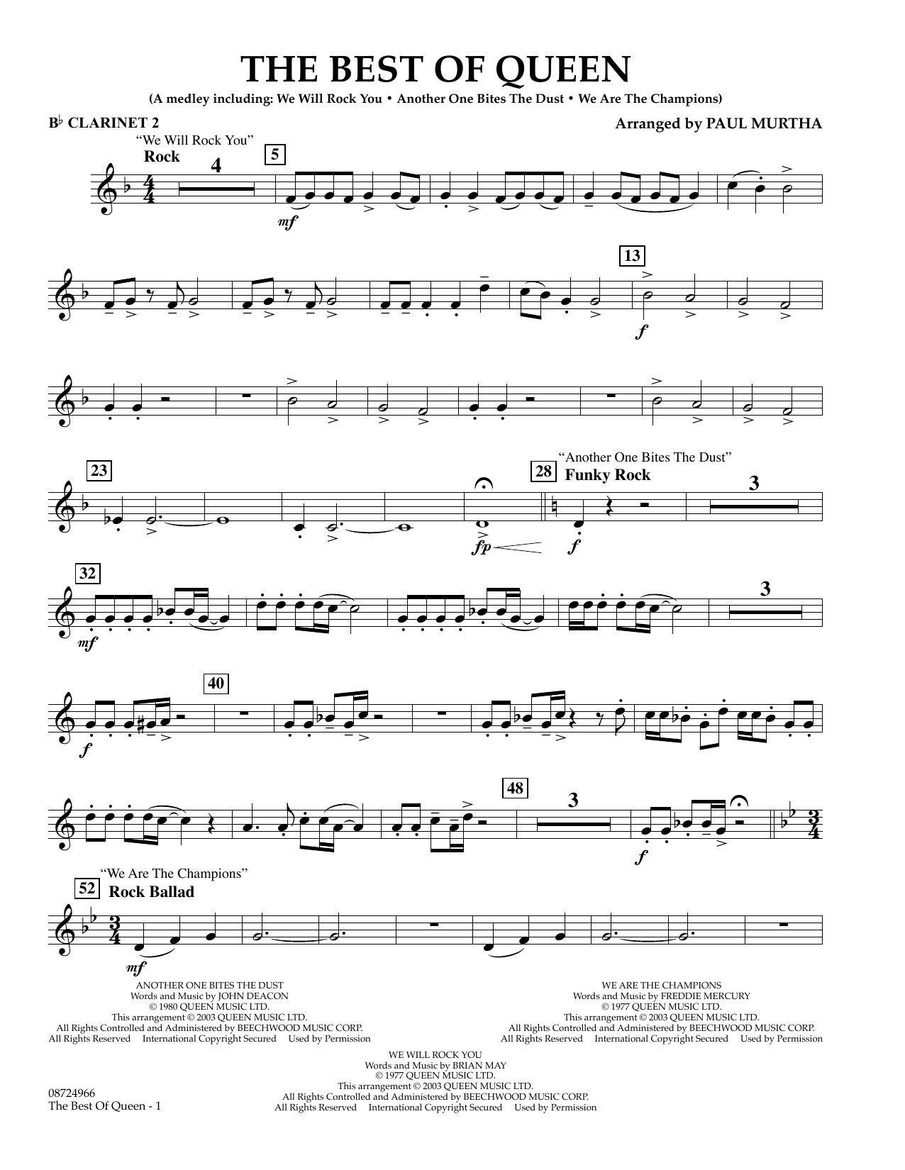 The Best Of Queen Bb Clarinet 2 At Stantons Sheet Music