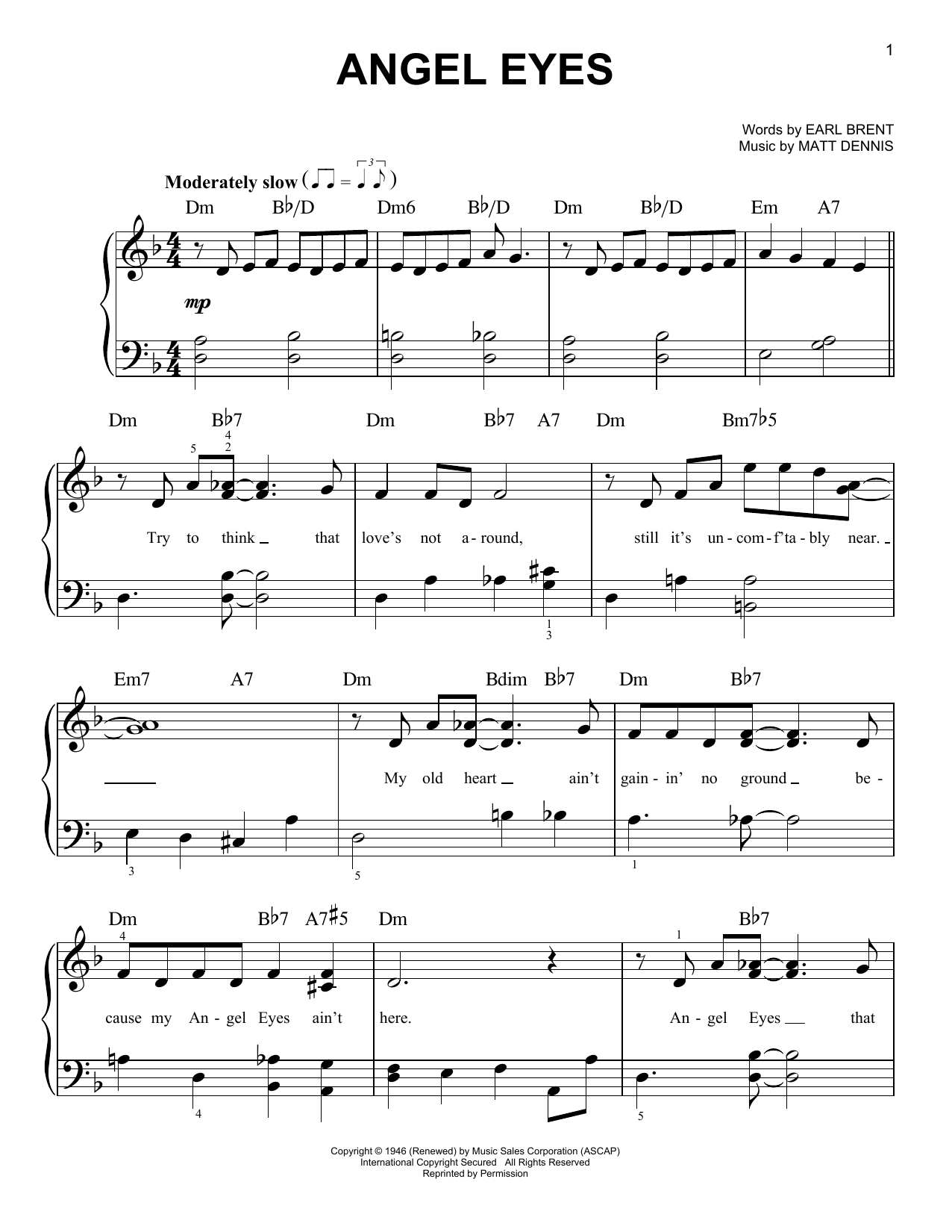 Angel Eyes (Easy Piano)
