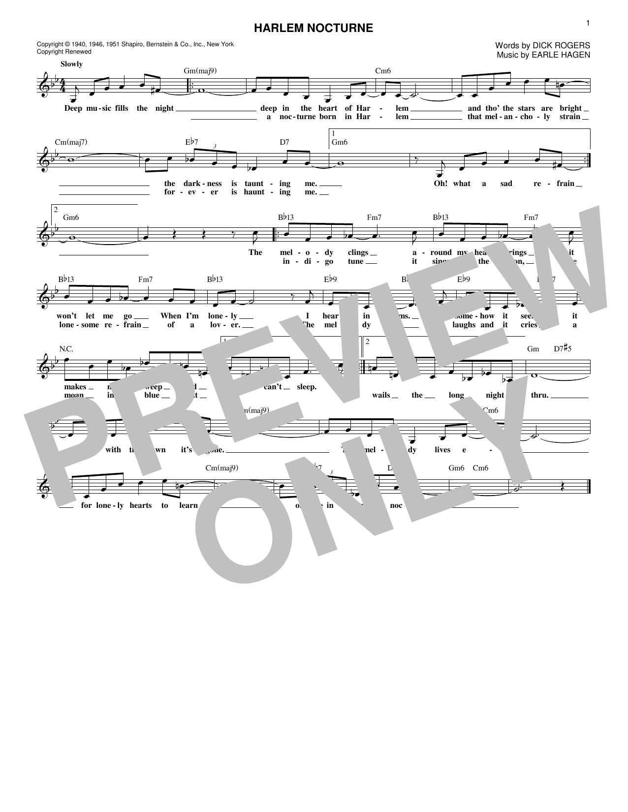 Harlem Nocturne (Lead Sheet / Fake Book)