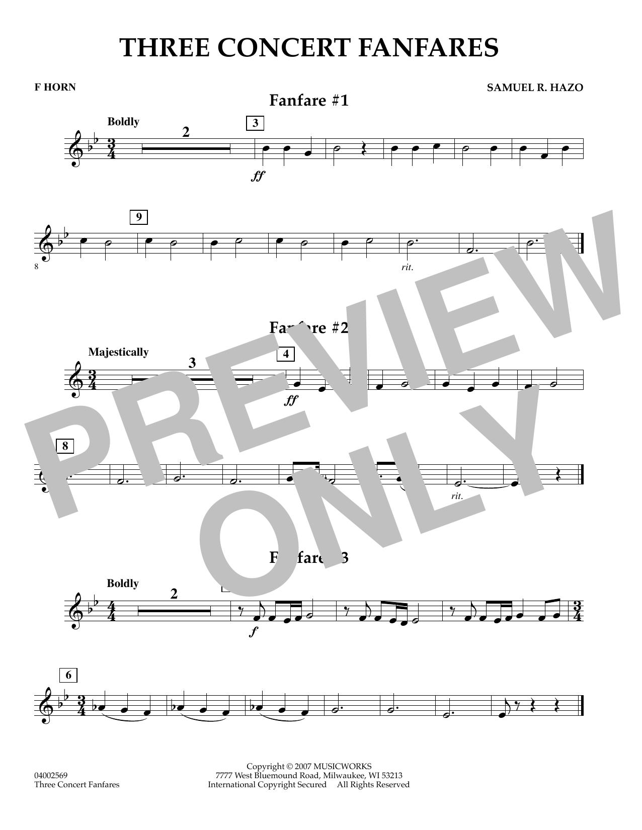 Three Concert Fanfares - F Horn (Concert Band)