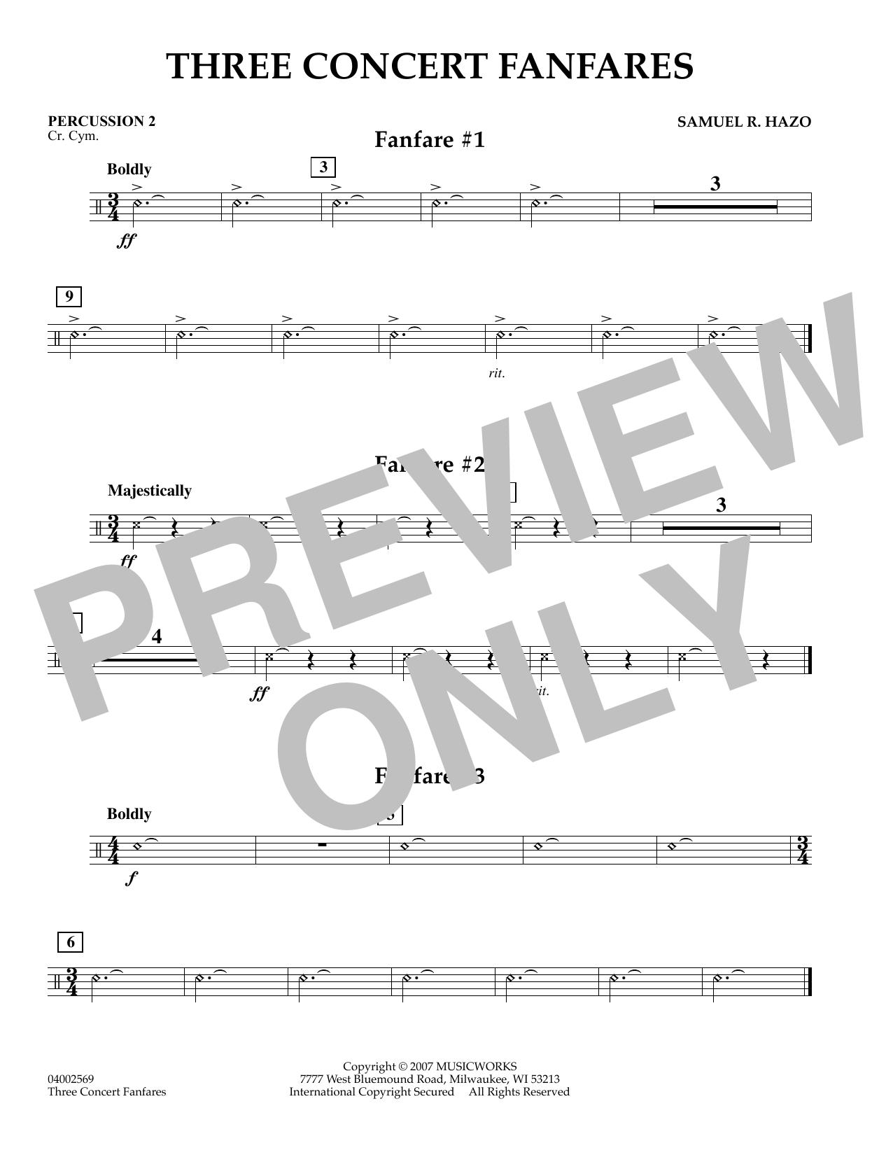 Three Concert Fanfares - Percussion 2 (Concert Band)
