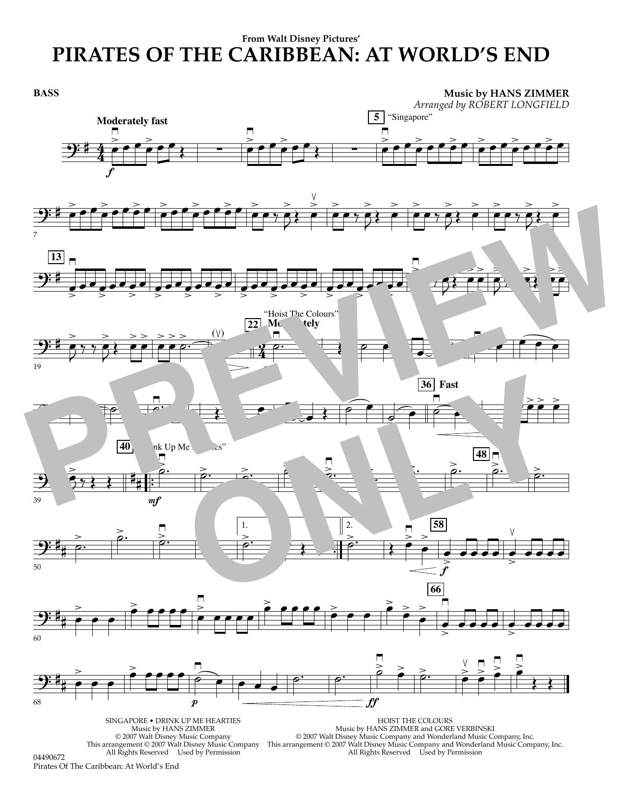 page one of Pirates of the Caribbean: At World's End - String BassASALTTEXT