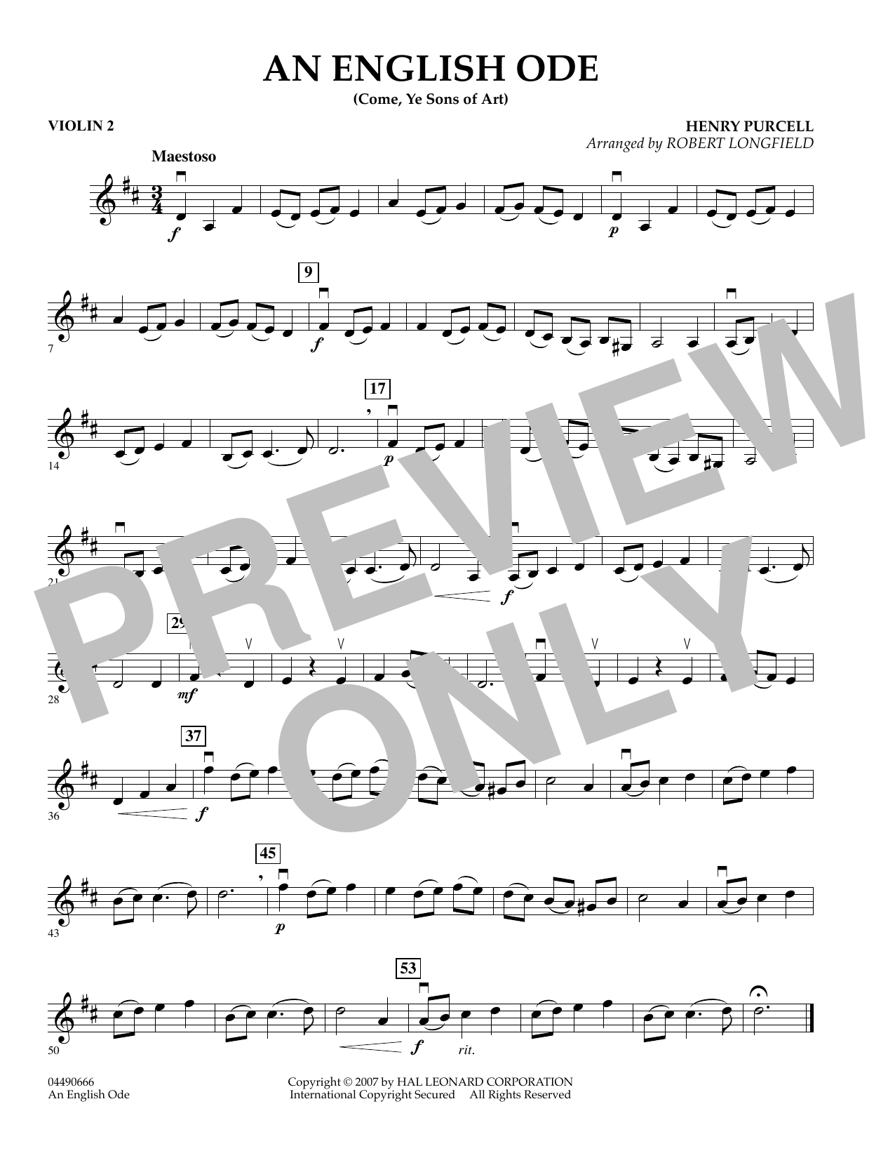 An English Ode (Come, Ye Sons of Art) - Violin 2 (Orchestra)
