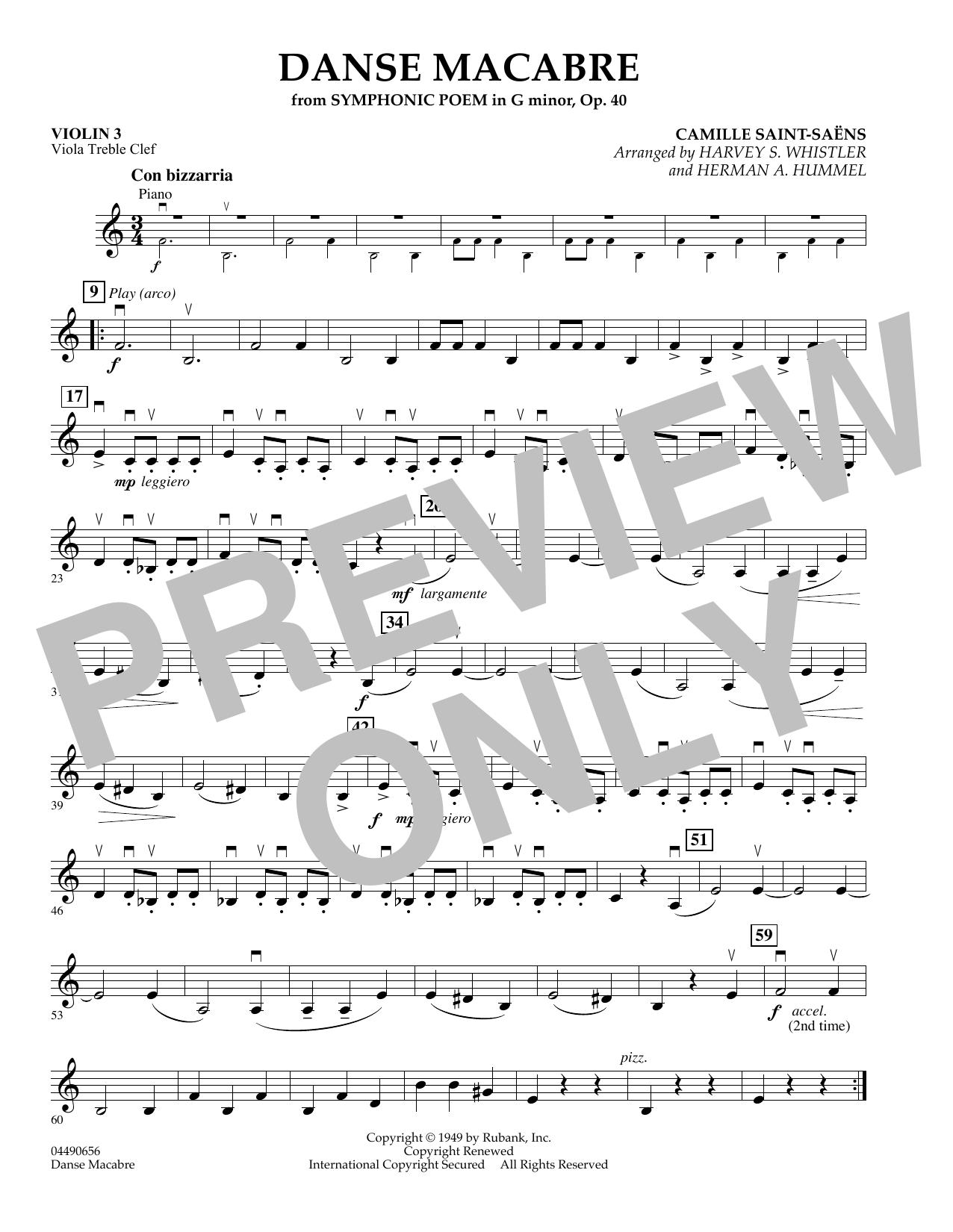 Danse Macabre - Violin 3 (Viola Treble Clef) (Orchestra)