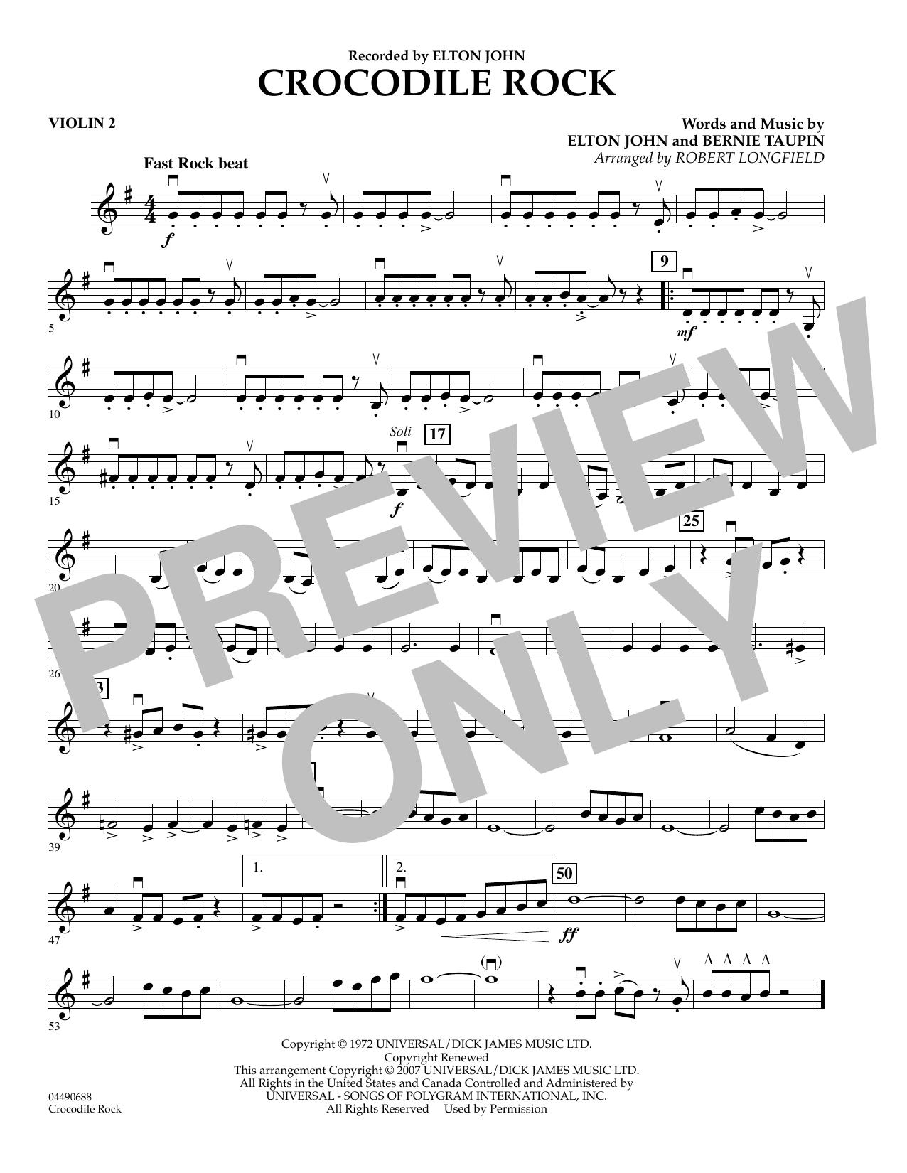 Crocodile Rock - Violin 2 atStanton's Sheet Music