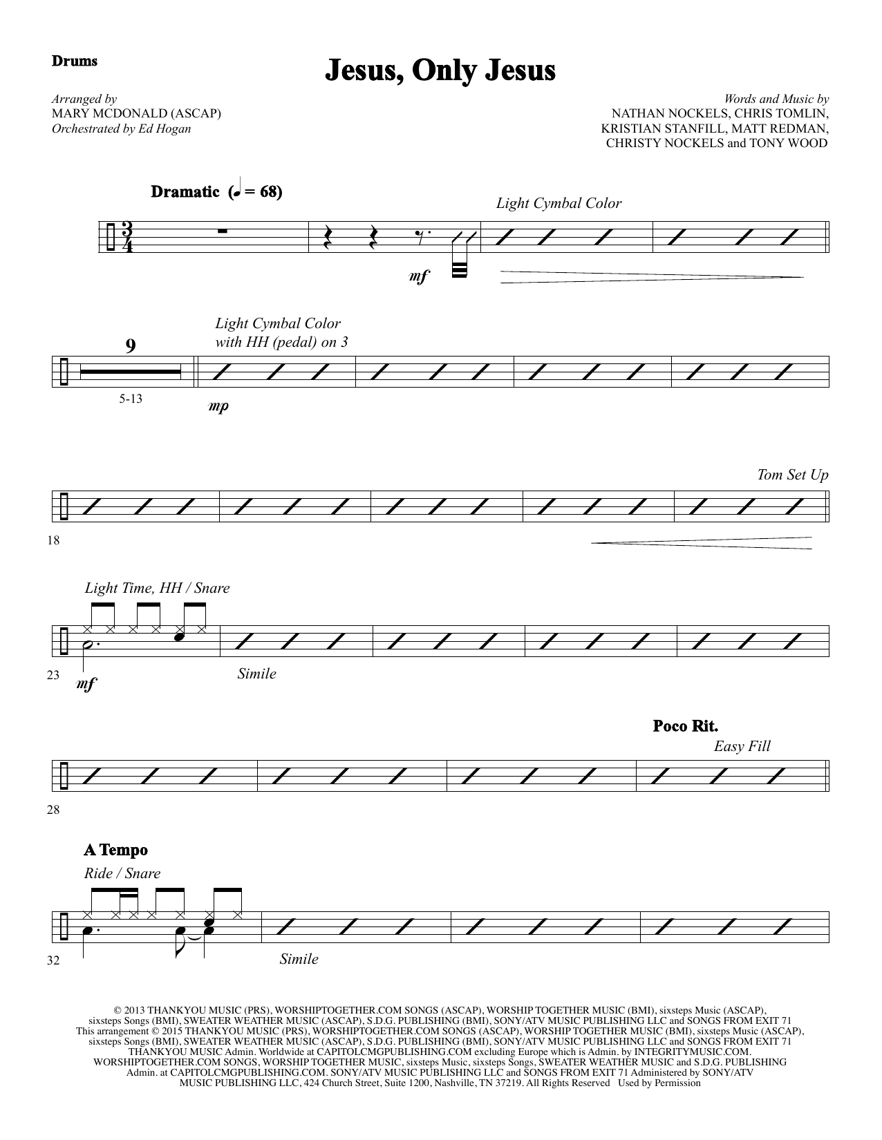 Jesus, Only Jesus - Drums Sheet Music