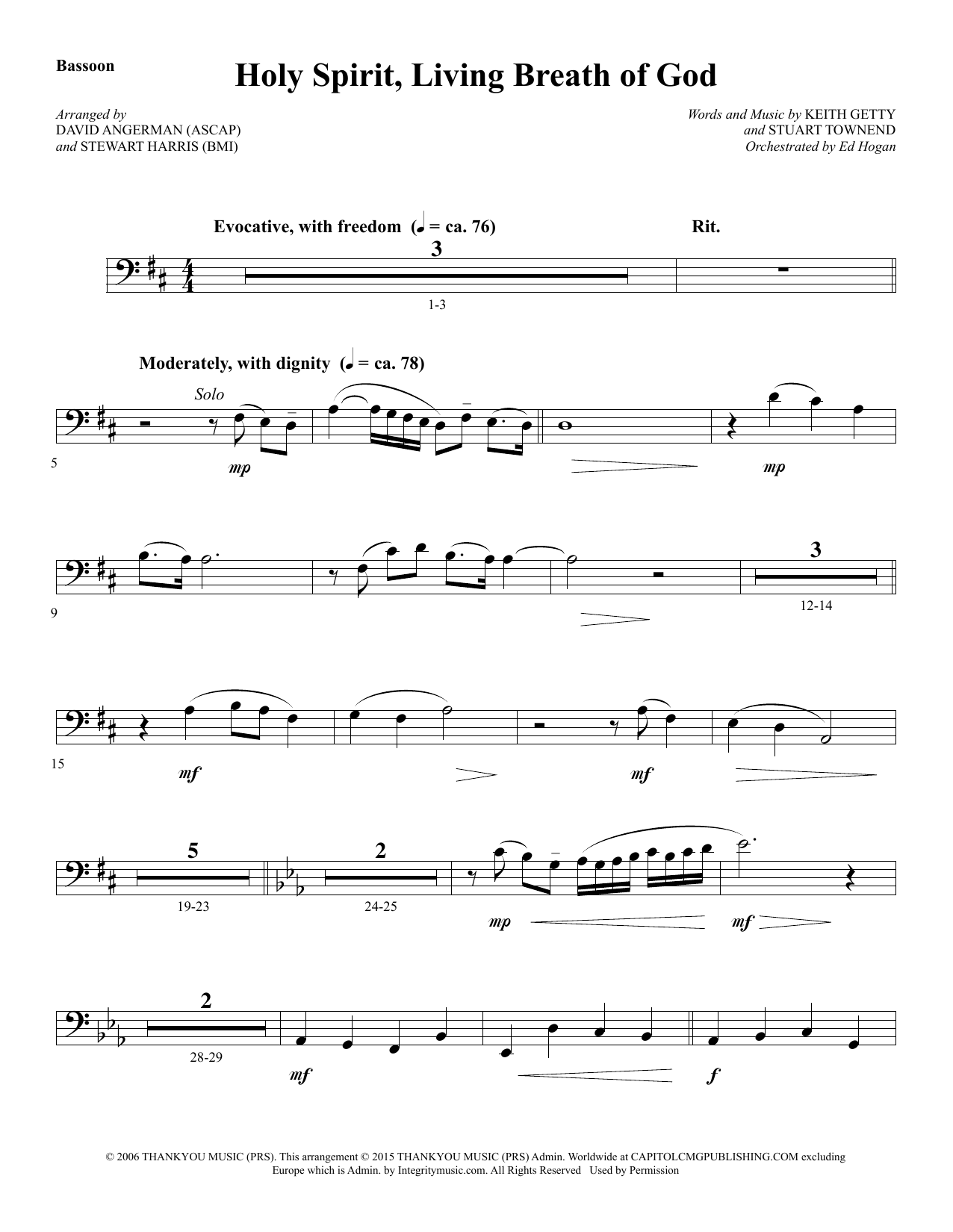 Holy Spirit, Living Breath of God - Bassoon (Choir Instrumental Pak)