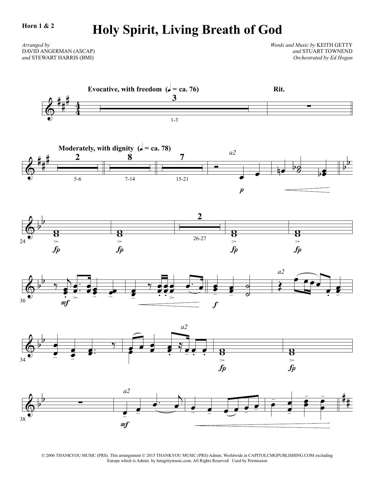 Holy Spirit, Living Breath of God - F Horn 1 & 2 Sheet Music