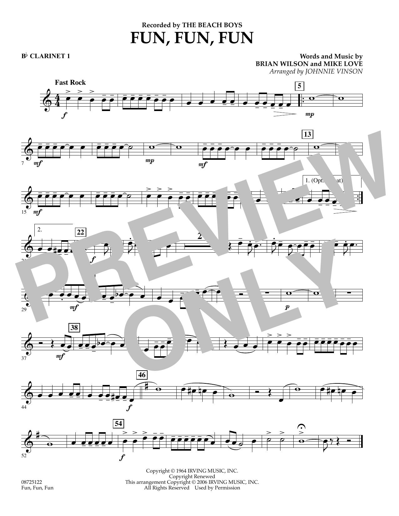 Fun, Fun, Fun - Bb Clarinet 1 (Concert Band)