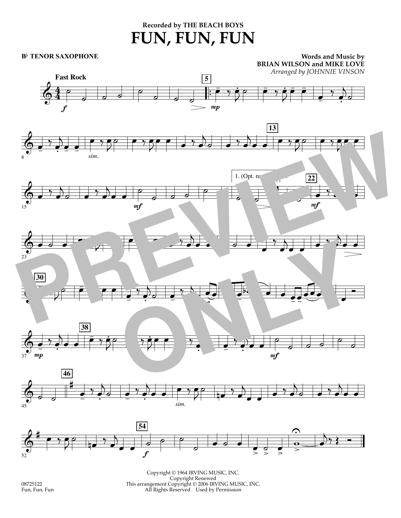 Fun, Fun, Fun - Bb Tenor Saxophone (Concert Band)
