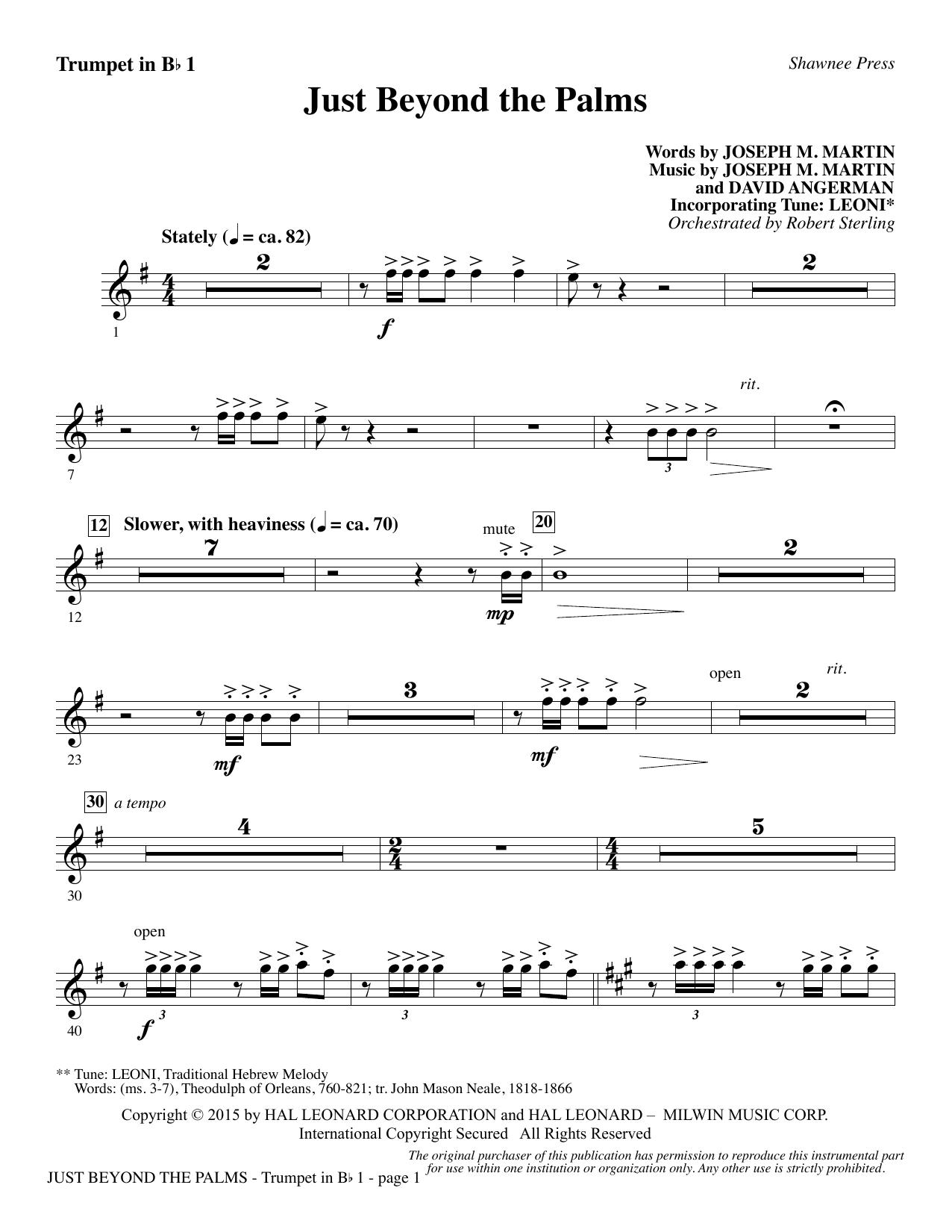 Just Beyond the Palms - Bb Trumpet 1 (Choir Instrumental Pak)