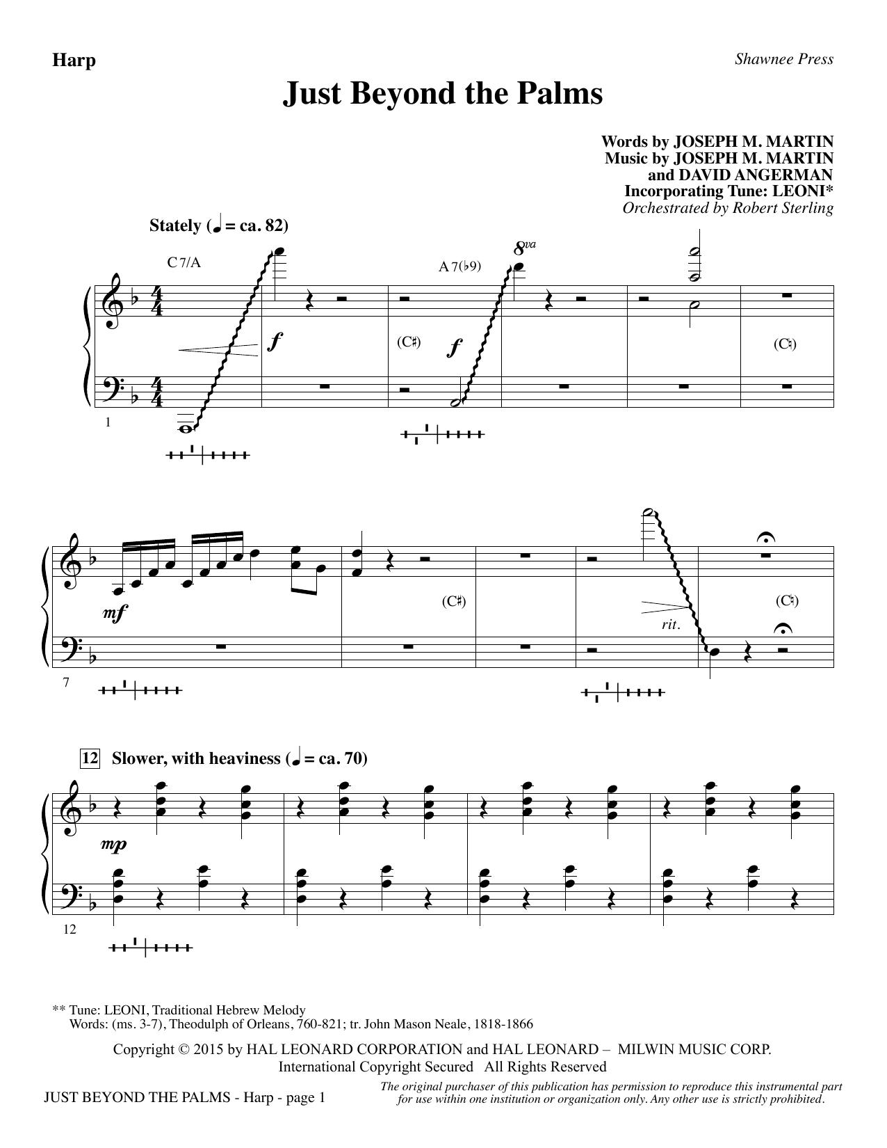 Just Beyond the Palms - Harp (Choir Instrumental Pak)
