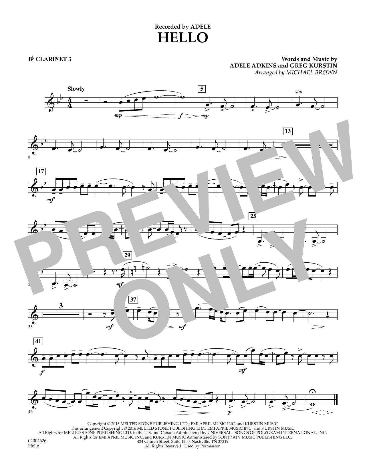 Hello - Bb Clarinet 3 (Concert Band)