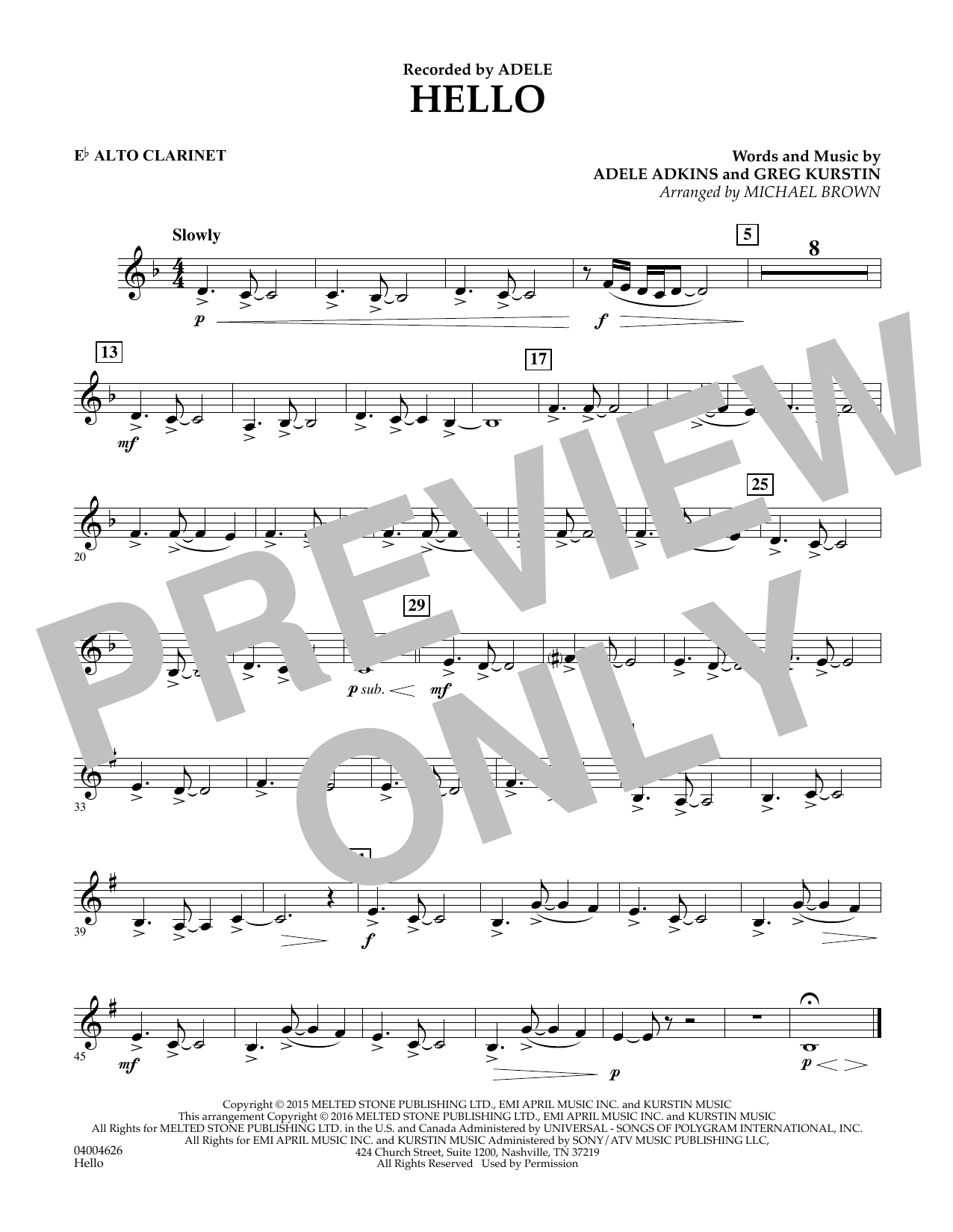 Hello - Eb Alto Clarinet (Concert Band)