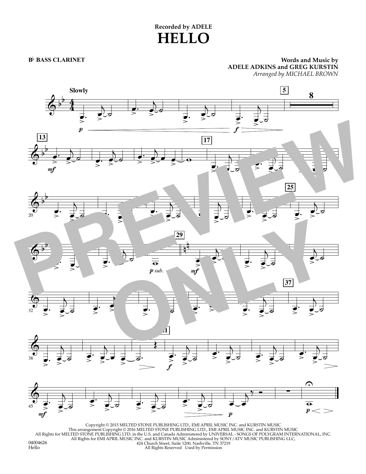 Hello - Bb Bass Clarinet (Concert Band)