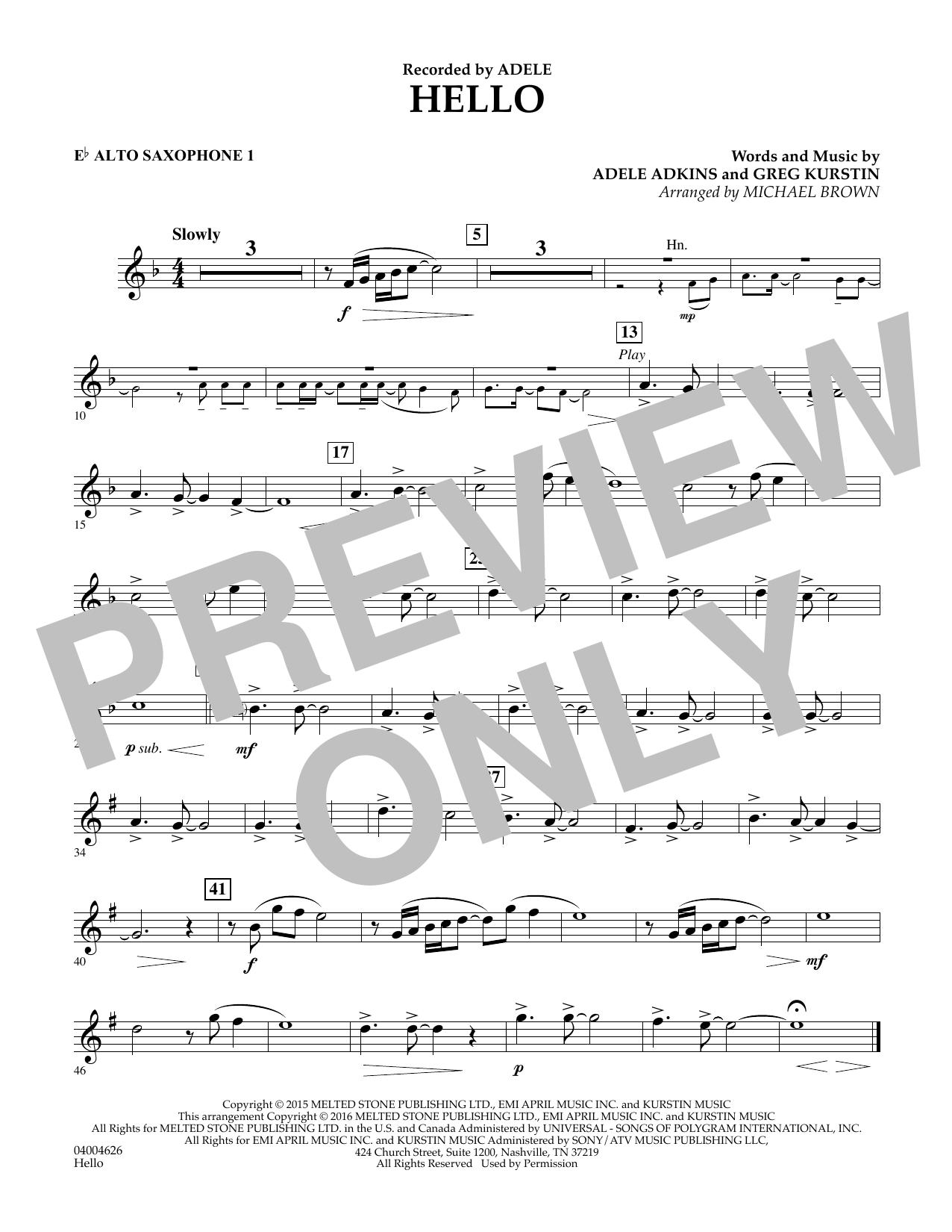 Hello - Eb Alto Saxophone 1 (Concert Band)