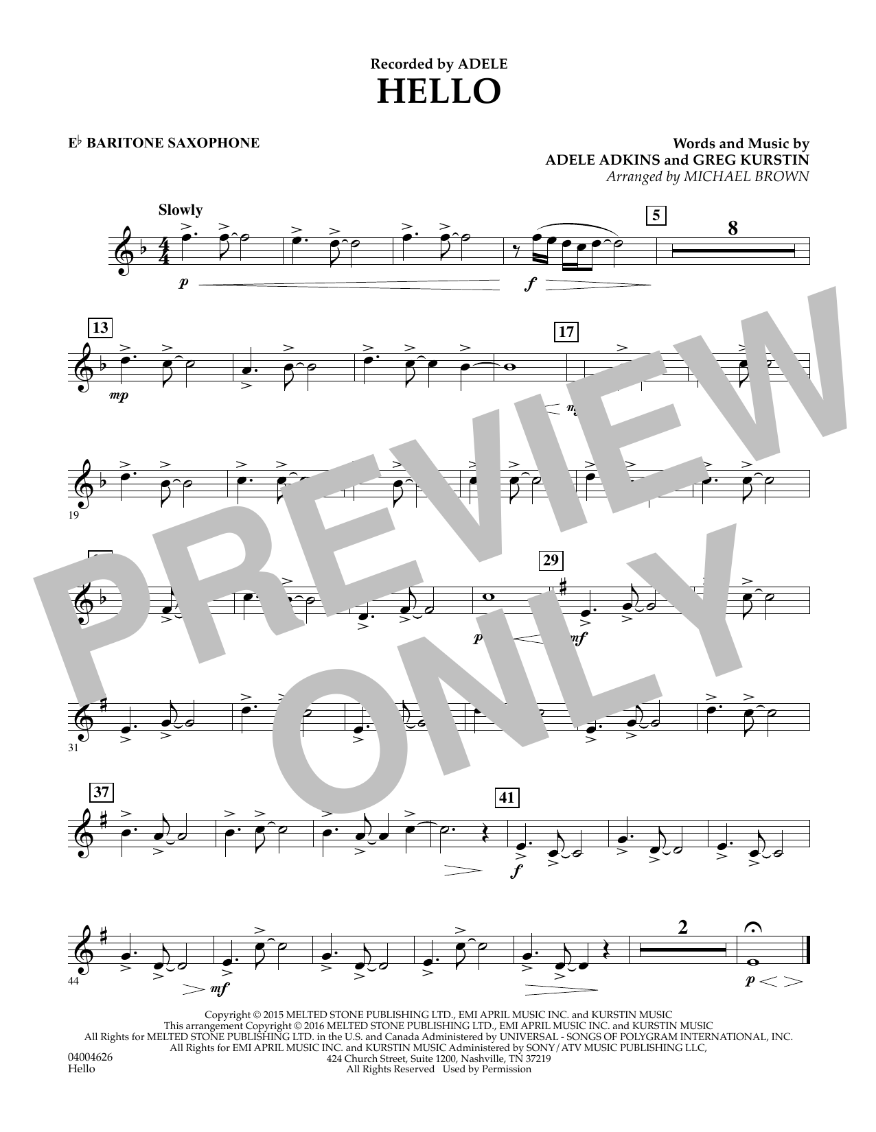 Hello - Eb Baritone Saxophone (Concert Band)