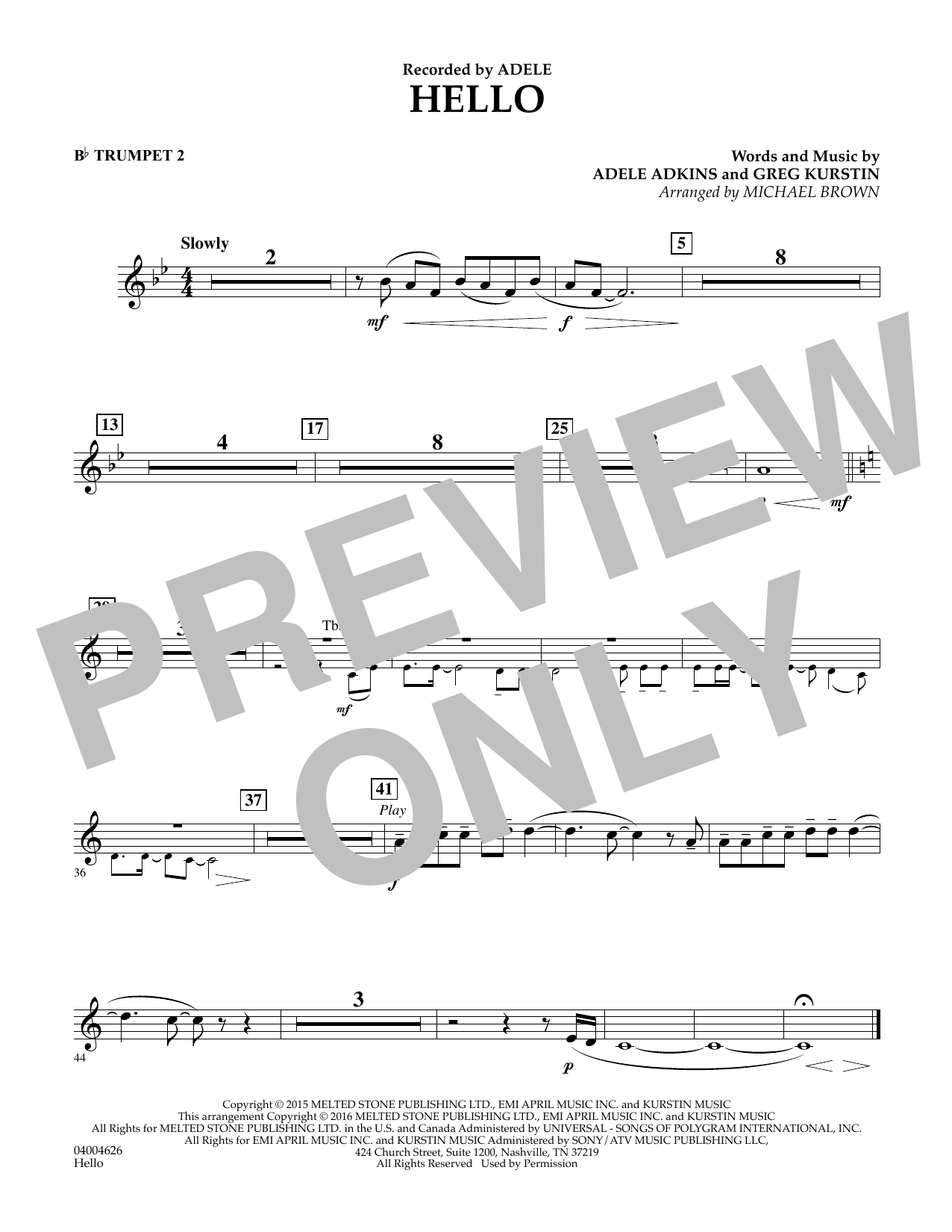 Hello - Bb Trumpet 2 (Concert Band)