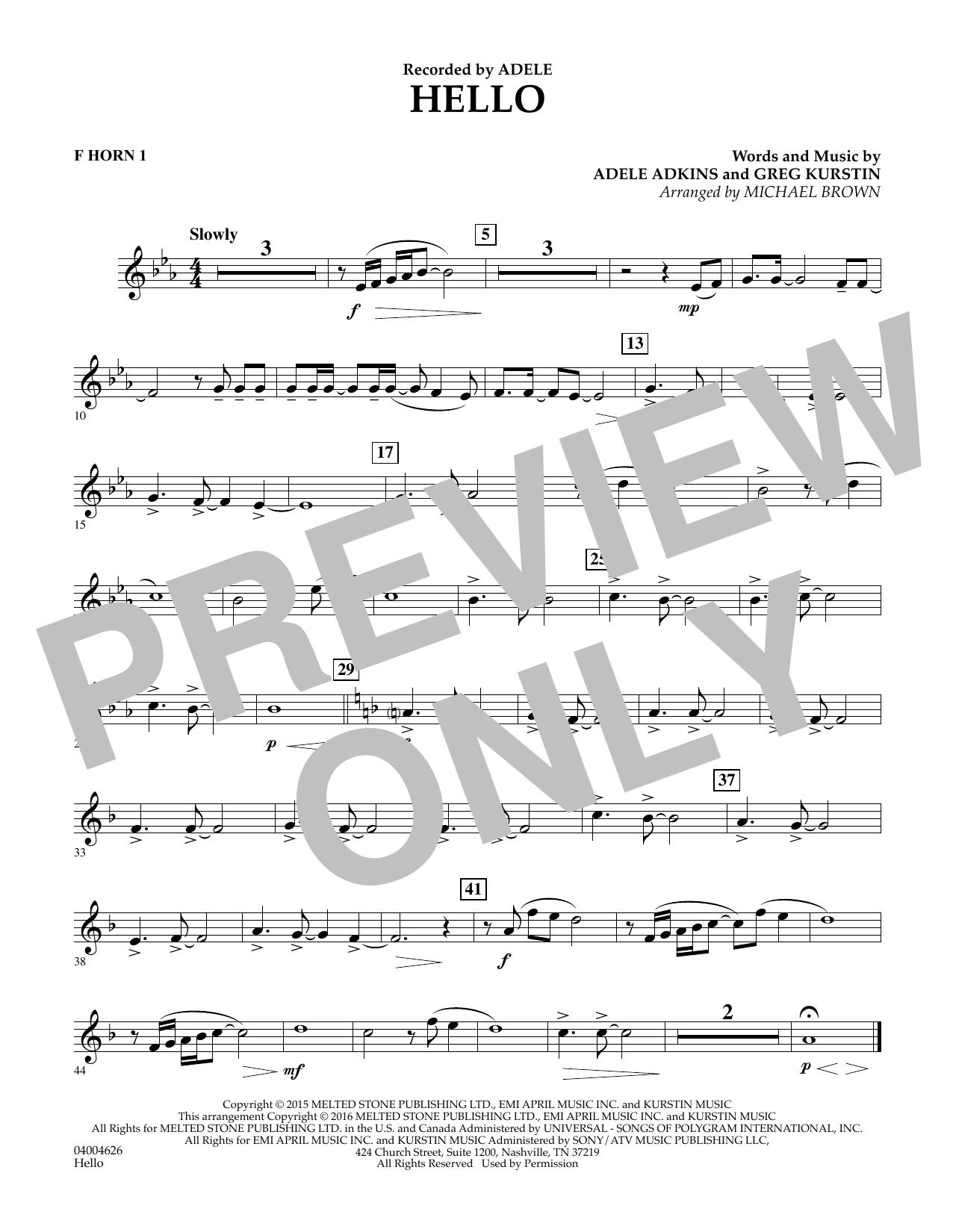 Hello - F Horn 1 (Concert Band)