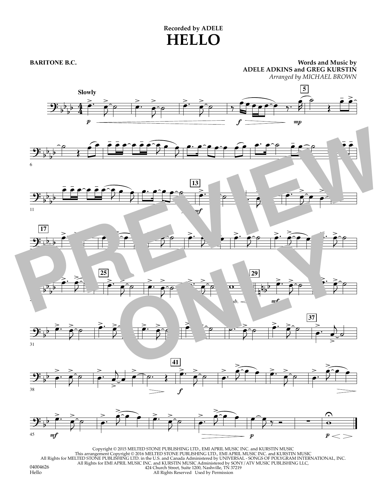 Hello - Baritone B.C. (Concert Band)
