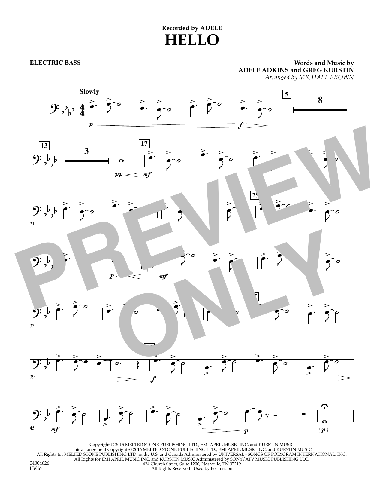 Hello - Electric Bass (Concert Band)