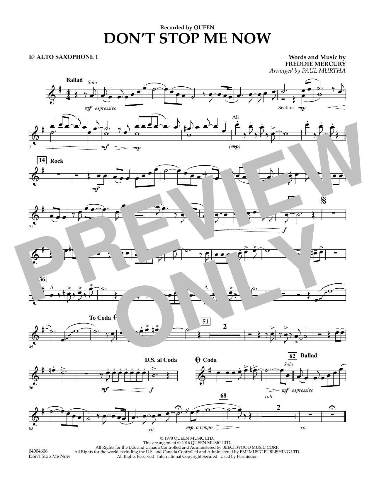 Don't Stop Me Now - Eb Alto Saxophone 1 (Concert Band)