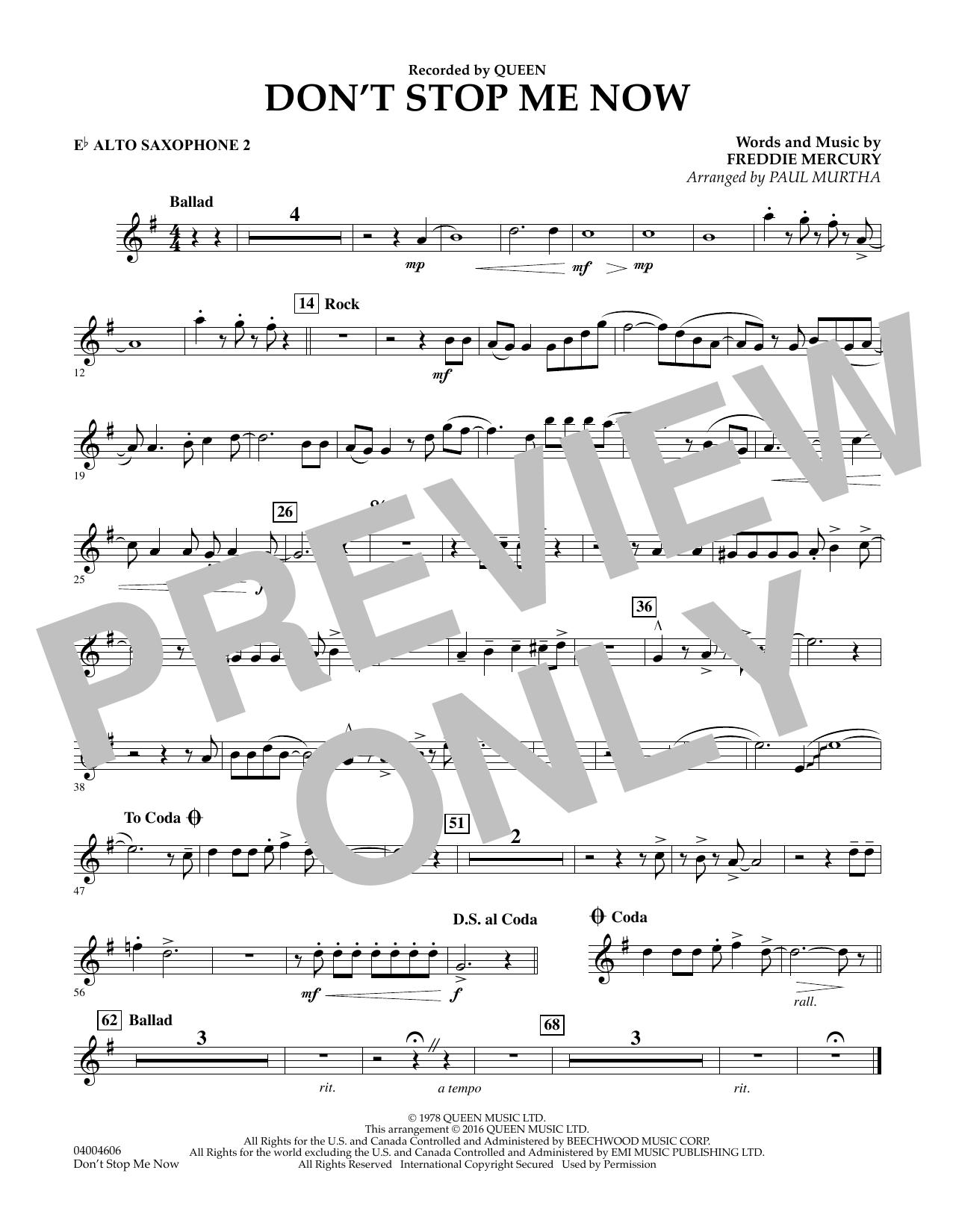 Don't Stop Me Now - Eb Alto Saxophone 2 (Concert Band)