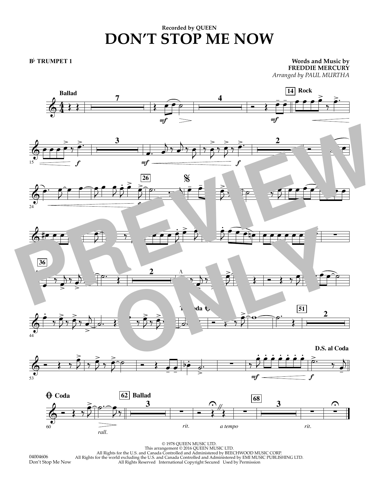 Don't Stop Me Now - Bb Trumpet 1 (Concert Band)