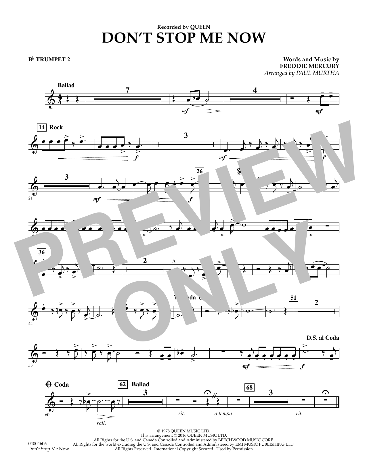 Don't Stop Me Now - Bb Trumpet 2 (Concert Band)