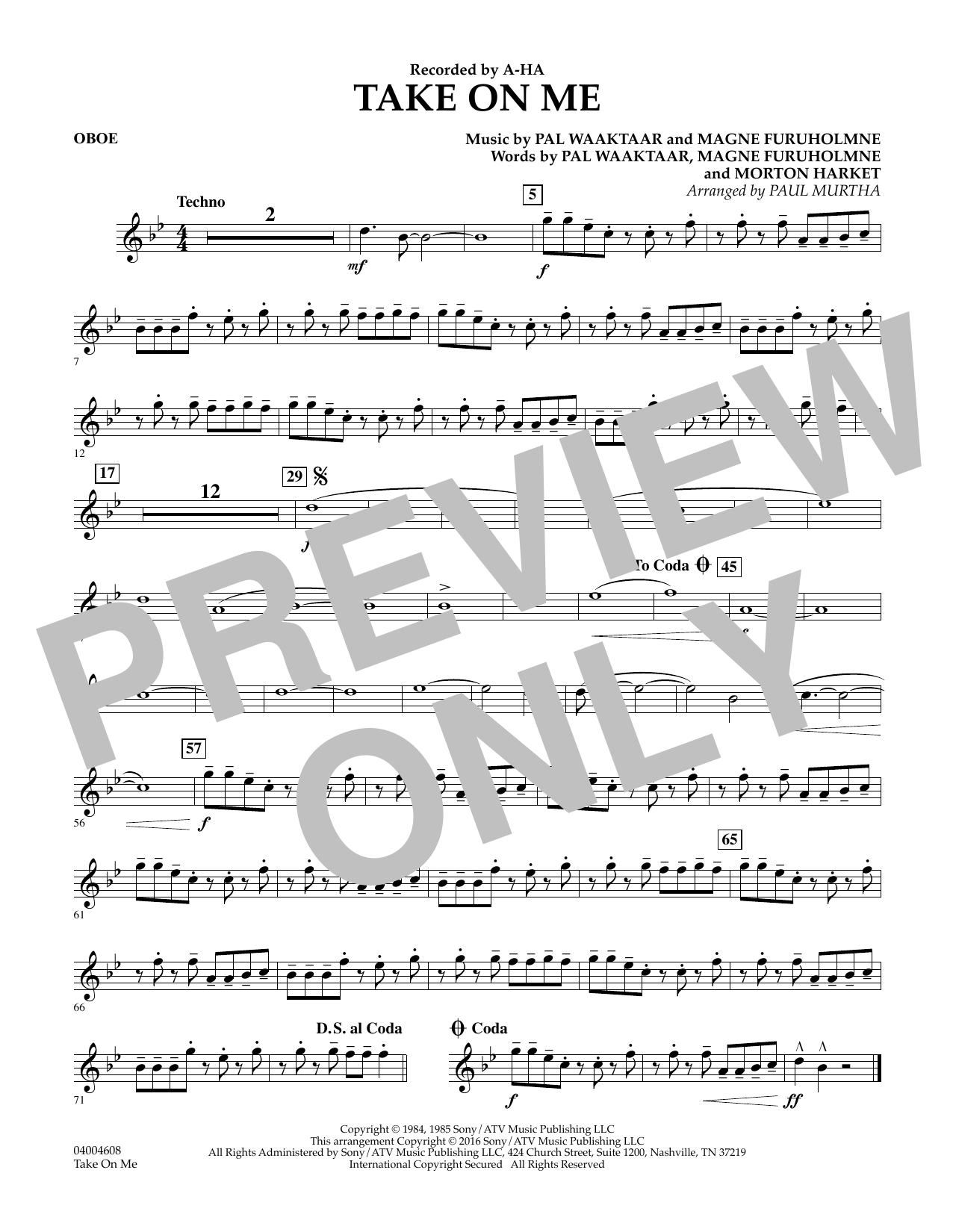 Take on Me - Oboe (Concert Band)