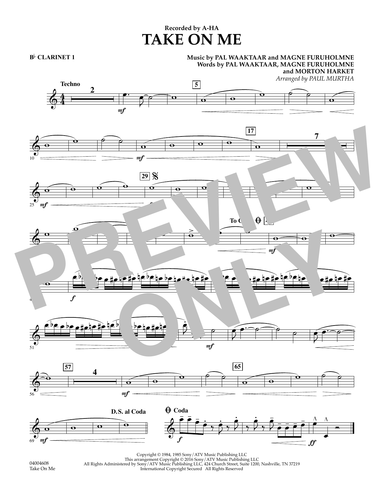 Take on Me - Bb Clarinet 1 (Concert Band)