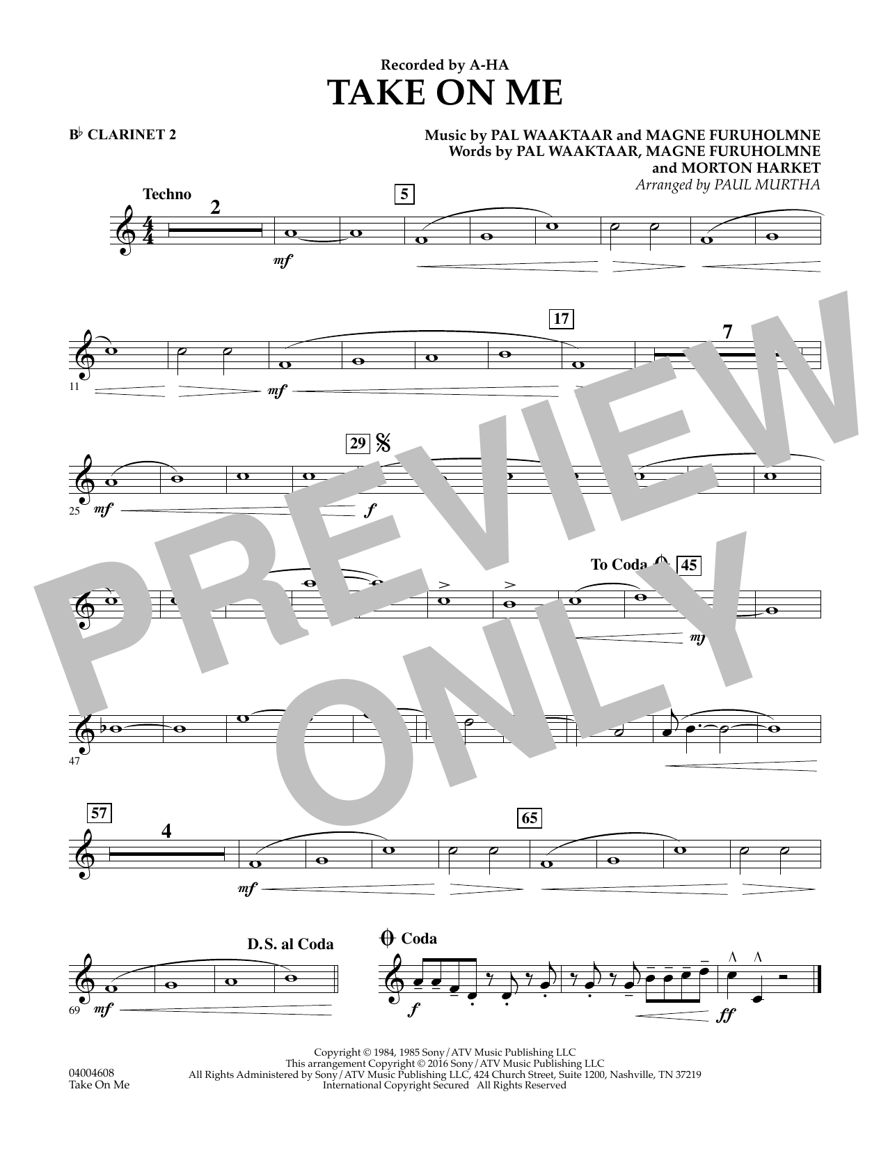 Take on Me - Bb Clarinet 2 (Concert Band)